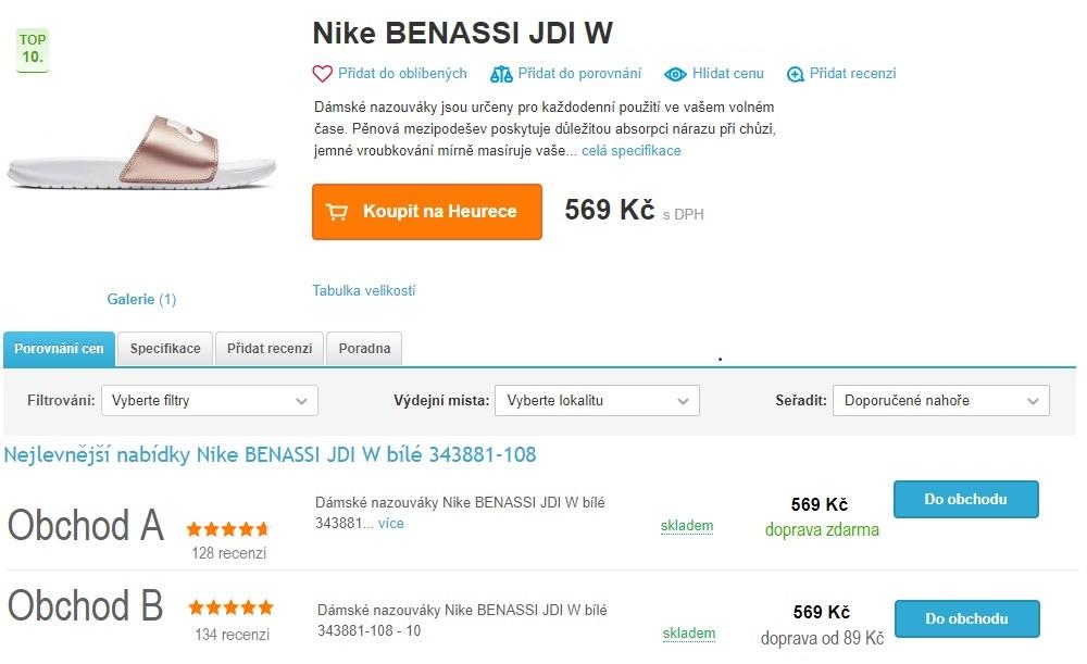 Dva obchody prodávají boty za stejnou cenu, stéměř obdobným hodnocením. Ukterého si myslíte, že zákazníci nakoupí?