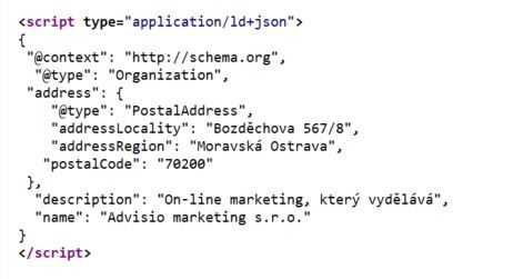 Ukázka JSON-LD zápisu