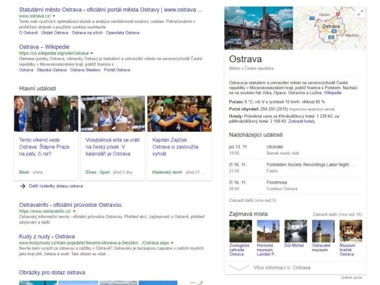 Google knowledge pannel na Ostravu