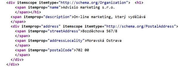 Ukázka zdrojového kódu pro schéma organizace
