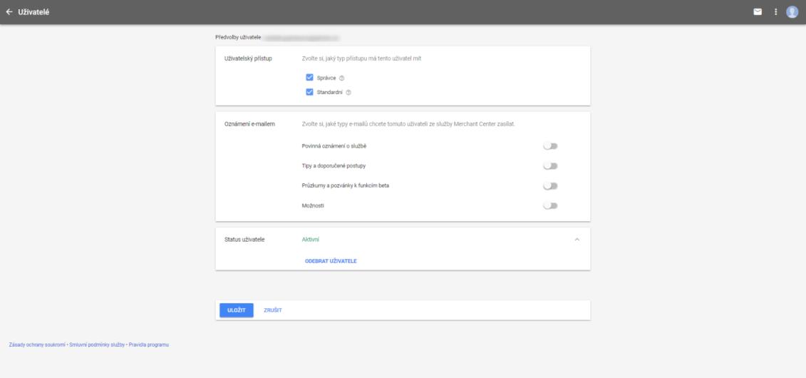 Nasdílení přístupů Google Merchant center