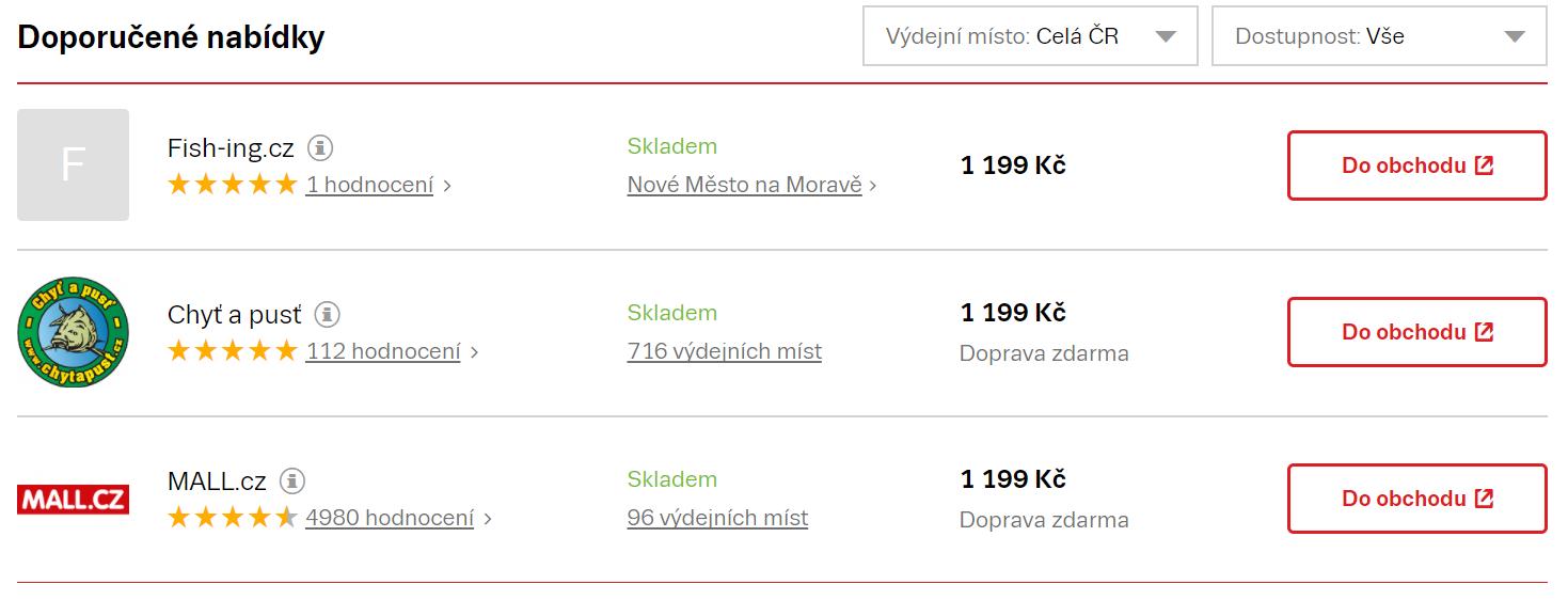 První tři příčky nabídek na Zbozi.cz