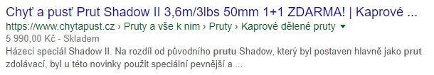 Ukázka Rich Snippet unašeho klienta Chytapust.cz
