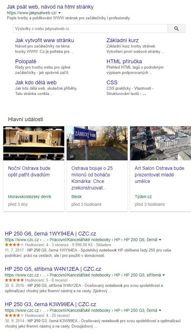 Ukázka strukturovaných dat na Googlu
