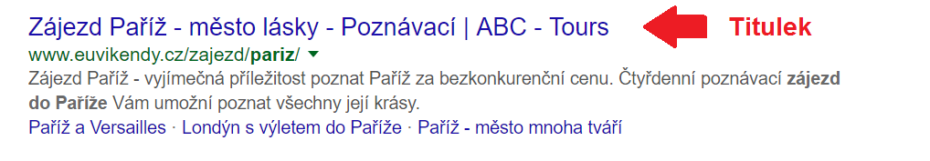 Podoba titulku ve vyhledávání