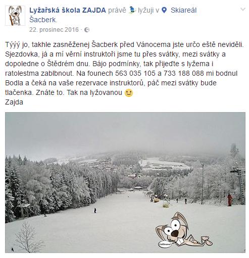 Lyžařská škola Zajda na Facebooku
