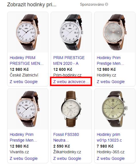 Zobrazení vGoogle nákupech.